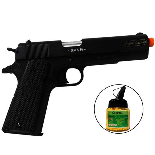 99cf504f4 Kit Pistola de Airsoft ALK Colt M1911A1 328 fps Spring 6mm + 1000 Munições  - Preto