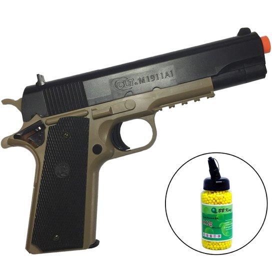 a68f3ee32 Pistola Airsoft ALK Colt 1911 230 FPS BAXS com Trava + 2000 Munições - Preto