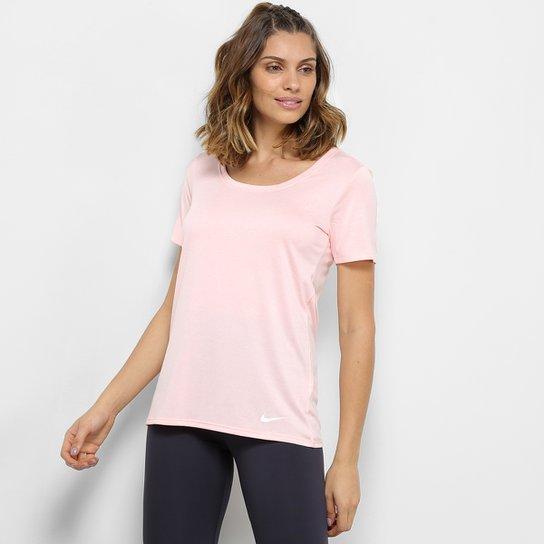 b35e0a4f0d Camiseta Nike Dry Ss Lgnd Scp Xdye Feminina - Rosa e Branco - Compre ...