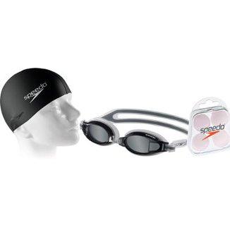Kit Natação Speedo Óculos Fox Fumê + Protetor + Touca d9680fbd763c1