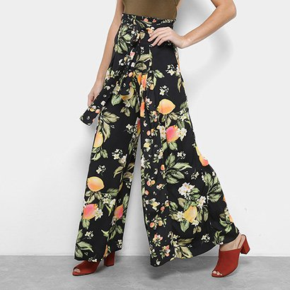 Calça Pantalona Farm Estampa Floral Cintura Alta Feminina