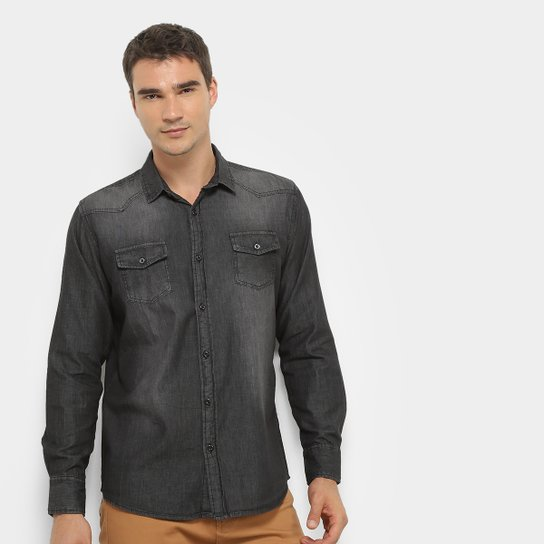 fe22bbeb2c98 Camisa Jeans Manga Longa Watkins & Krown Estonada Masculina - Preto ...