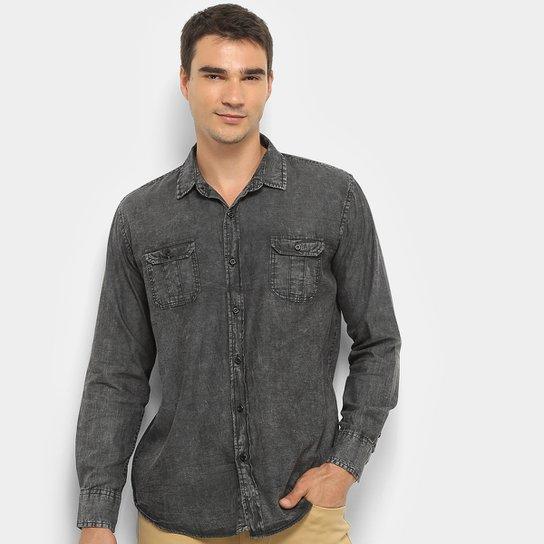6a69e69b7a85 Camisa Jeans Manga Longa Watkins & Krown Masculina - Preto | Netshoes