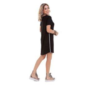 527162288 Vestido Manola Semi Rodado com Listras Lateral Feminino
