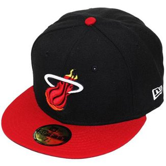 Boné New Era Aba Reta Fechado Nba Heat 2Tone Basic fe28a122d99