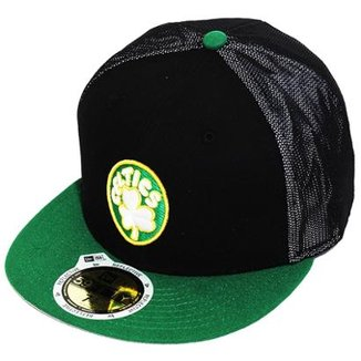 aafbb2f07 Boné New Era Aba Reta Fechado Nba Celtics Mesh Out