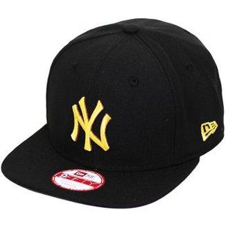 Boné New Era Aba Reta Snapback Mlb Ny Yankees Of Gold d3e9f973f4f