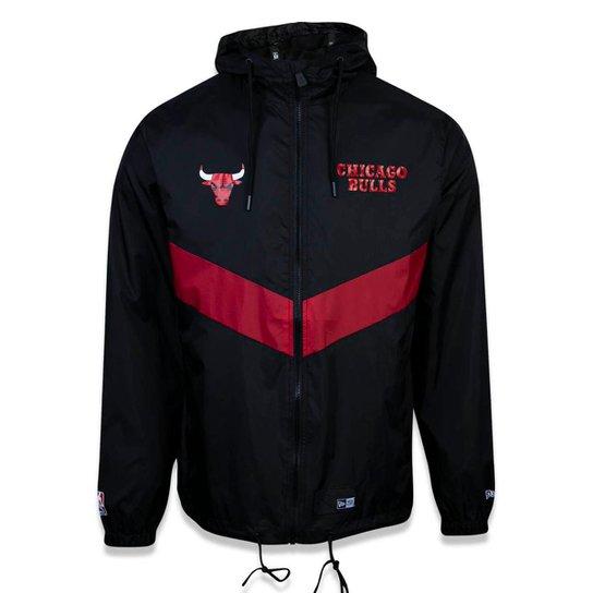 10c5ba77a Jaqueta Windbreak Chicago Bulls NBA New Era Masculina - Preto ...