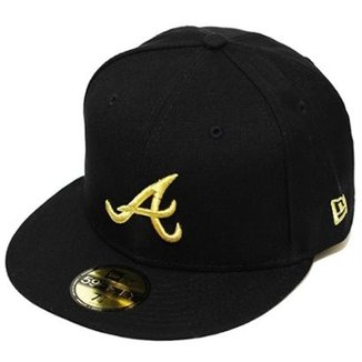 3dcf689147251 Boné New Era Aba Reta Fechado Mlb Atlanta Basic Gold