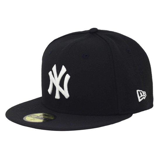 45bc10dfab Boné New Era Aba Reta Fechado Mlb Ny Yankees Basic Colors - Preto ...
