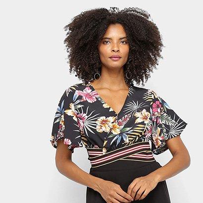 Blusa Cropped Favorita's Floral Feminina