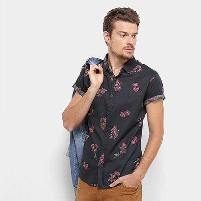 Camisa Acostamento Estampada Manga Curta Masculina