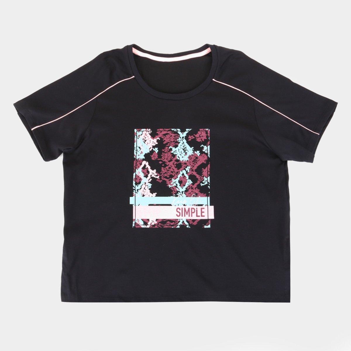 Camiseta Alto Giro Malha Comfort Dry Assimétrica Plus Size Feminina