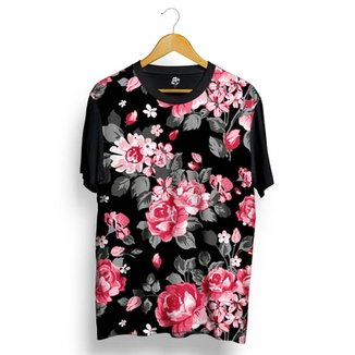 Camiseta BSC Pink Dark Flowers Full Print fee5c0cdfce42