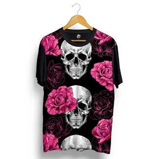 Camiseta BSC Skull Pink Rose Full Print 40b9c50c3c3d6