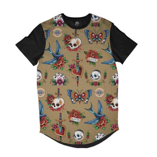 9f3e632557 Camiseta BSC Longline Tatuagem Old School Sublimada Masculina - Preto