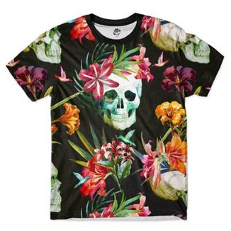 f5f51d5e6b Camiseta BSC Caveira Beija Flor Full Print Masculina