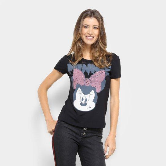 Blusa Minnie Disney Manga Curta Feminina - Preto - Compre Agora ... 17ef15d6bf152