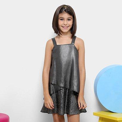 Vestido Infantil Dimy Candy Camadas Com Strass