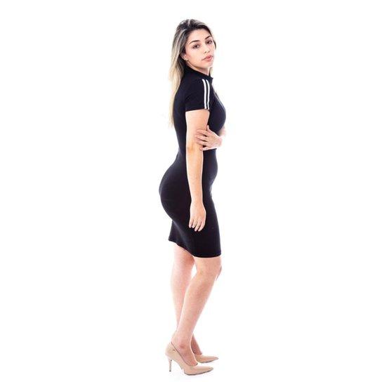 7344377a9c Vestido Moda Vicio Manga Curta com Faixa Feminino - Preto - Compre ...