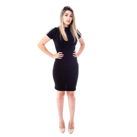 2d3eec2bb Vestido Moda Vicio Manga Curta com Faixa Feminino - Preto - Compre ...