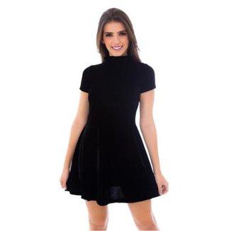 5fd697c59467 Vestido Moda Vicio Gola Alta Manga Curta Soltinho Feminino