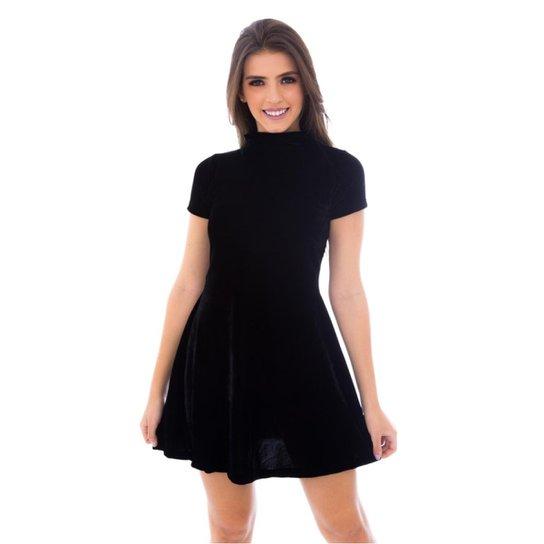 c2b2913d6 Vestido Moda Vicio Gola Alta Manga Curta Soltinho Feminino - Preto ...