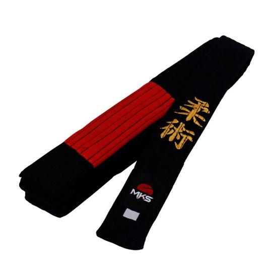 Faixa Jiu Jitsu MKS Preta Bordada com ponta Vermelha - Preto ... 9d1bf379033