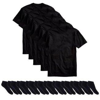 3db80936e8 Kit 5 Camisetas Básicas Masculina T-Shirt Algodão + 10 Pares De Meias  Soquete