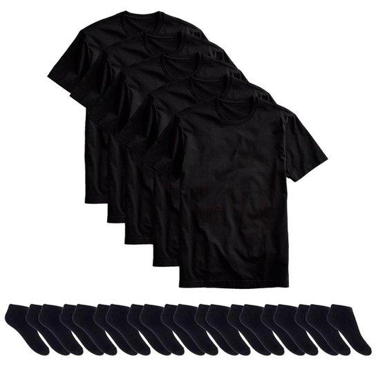 Kit 5 Camisetas Básicas Masculina T-Shirt Algodão + 10 Pares De Meias  Soquete - 62f33a408c859