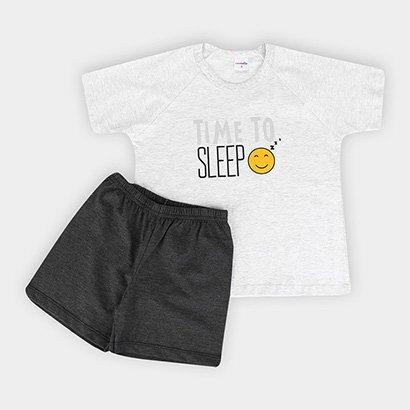 Pijama Infantil Candy Kids  Meia Malha Time To Sleep Masculina
