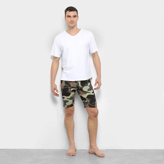 70231ae9bd1387 Pijama Be Cciolo Curto Camuflado Masculino - Branco e Verde