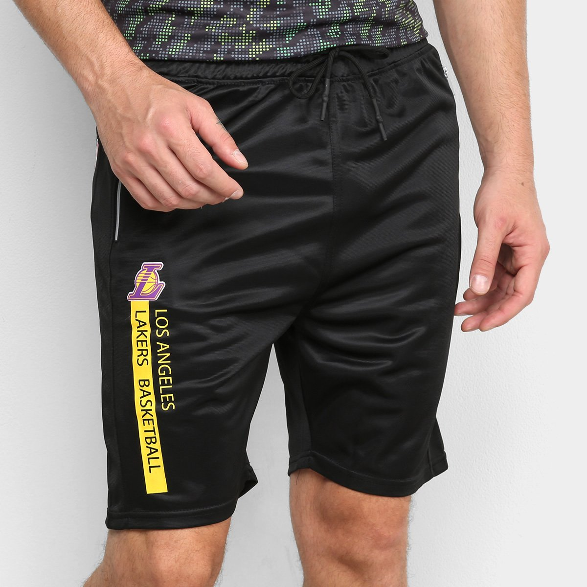 Bermuda NBA Los Angeles Lakers Zíper Masculina