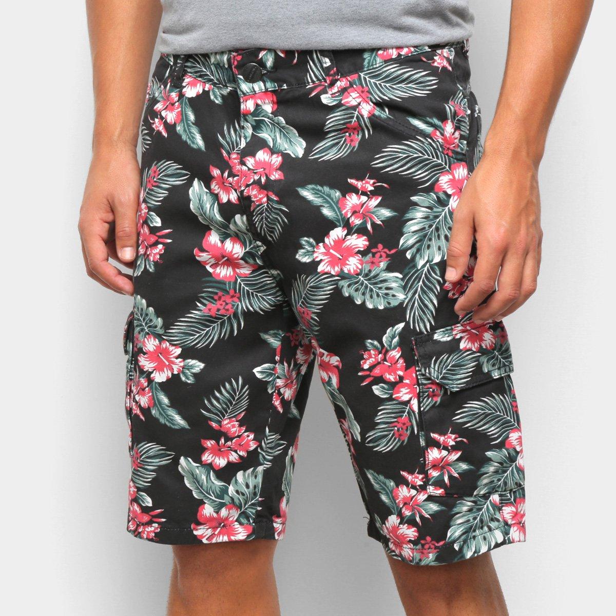 Bermuda Jeans Ecxo Estampa Floral Masculina
