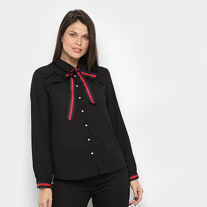 Camisa Manga Longa Only Fashion Lisa Babados Feminina