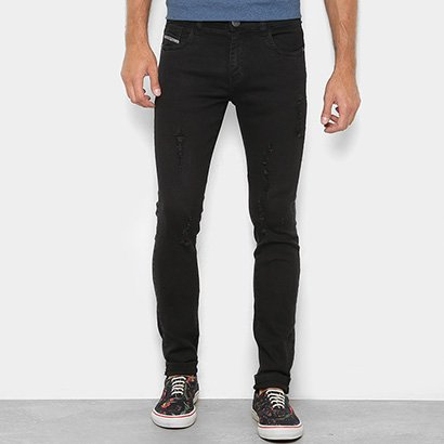 Calça Jeans Skinny Preston Púidos Destroyed Cintura Baixa Masculina