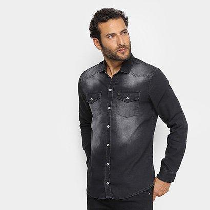 Camisa Jeans Preston Manga Longa Estonada Masculina