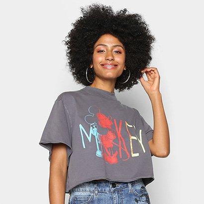 Camiseta Colcci Cropped Mickey Feminina