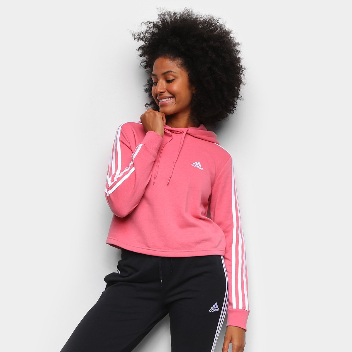 Moletom Adidas Cropped Speed 3 Listras Feminino