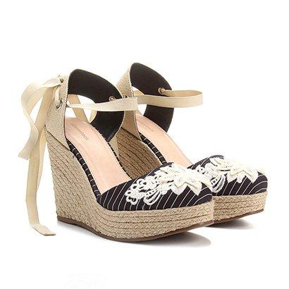 Espadrille Plataforma Shoestock Bordada Feminina