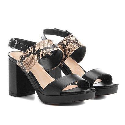 Sandália Couro Shoestock Meia Pata Cobra Feminina