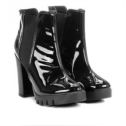 Bota Cano Curto Shoestock Tratorada Verniz Feminina