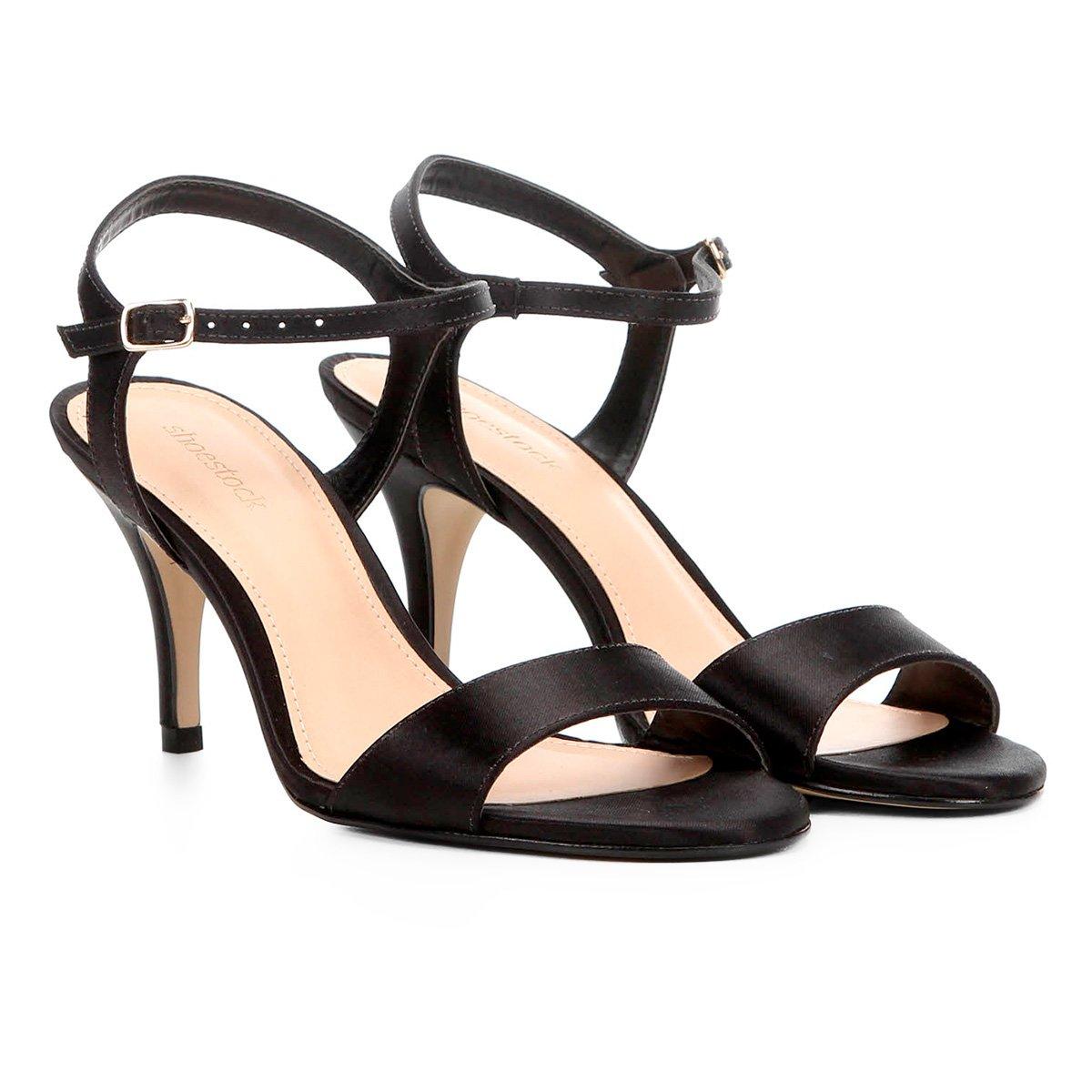 205590da1e Sandália Shoestock Salto Fino Cetim Feminina