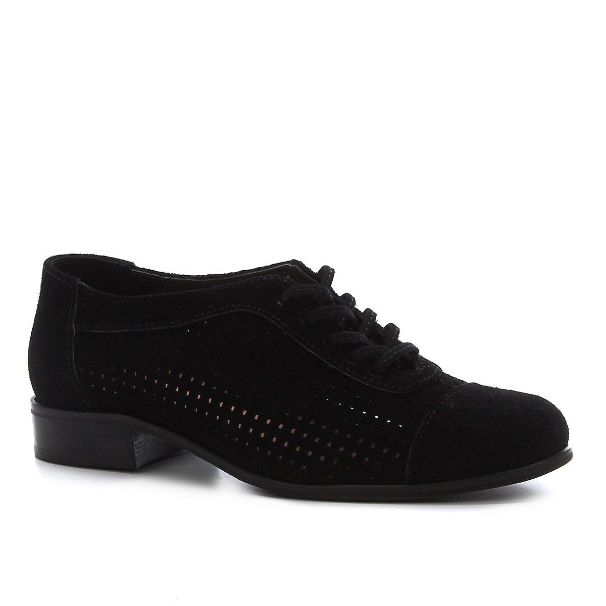 Oxford Couro Shoestock Camurça Cadarço Feminino
