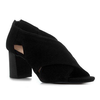 Sandália Couro Shoestock Camurção Salto Bloco Feminina