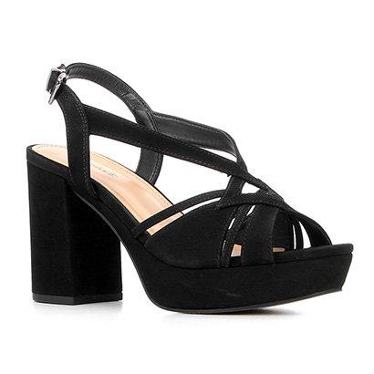 Sandália Couro Shoestock Meia Pata Nobuck Tiras Feminina