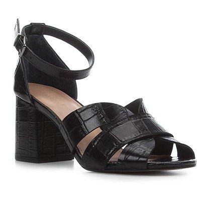 Sandália Couro Shoestock Croco Salto Bloco Médio Feminina