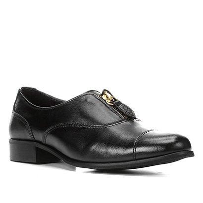 Oxford Couro Shoestock Zíper Feminino