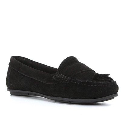 Mocassim Couro Shoestock Camurção Franjas Feminino