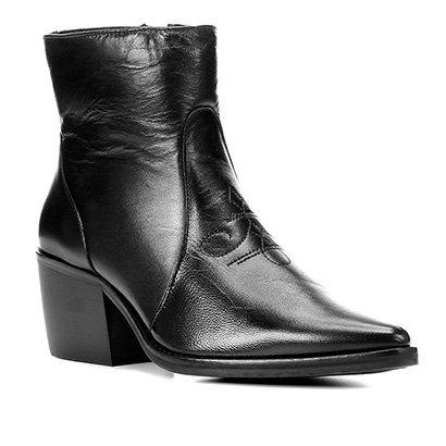 Bota Couro Shoestock Western Salto Médio Feminina